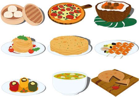 Tasty and beautiful dishes of different countries cuisine vector illustration Vectores