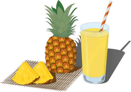 Glass of fresh pineapple juice and whole and cutted pineapples vector illustration Vectores