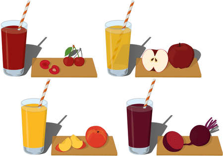 Glass of fresh fruit and vegetable juice vector illustration
