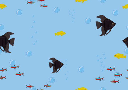 Seamless background tropical fish on blue color