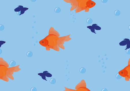 Seamless background tropical fish goldfish, betta on blue color