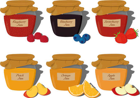 Fruit and berry jam jar with inscription collection vector illustration