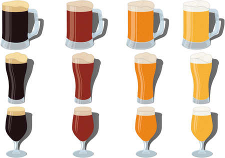 Four grades of beer in three types of glasses vector illustration Vectores