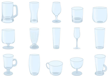 Different types of drinking glasses collection vector illustration Vectores