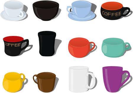 Different types of cups and mugs collection vector illustration Vectores