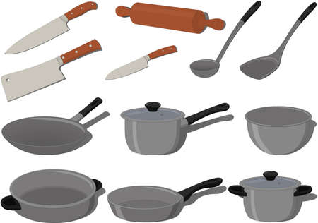 Kitchen cooking supplies collection vector illustration