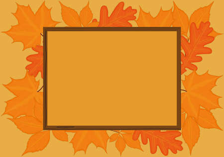 Autumn fall background with wooden frame and yellow red leaves vector illustration