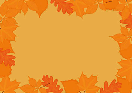 Autumn fall background frame with yellow red leaves Vectores