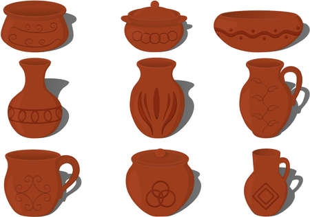 Pottery ceramics with patterns collection vector illustration
