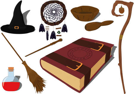 Wizarding and witchcraft magic items collection vector illustration Vectores