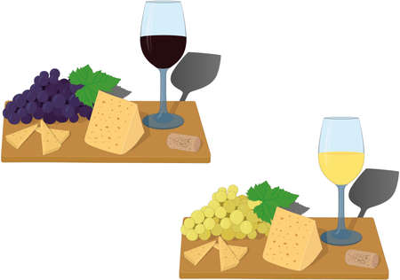 Serving board with glass of wine, grapes and cheese slices vector illustration Vectores