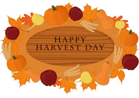 Happy harvest day wooden signboard decorated with vegetables vector illustration