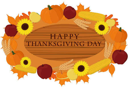 Happy thanksgiving day wooden signboard decorated with vegetables vector illustration Vectores
