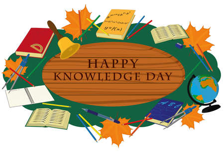 Happy knowledge day wooden signboard decorated with school supplies vector illustration Vectores
