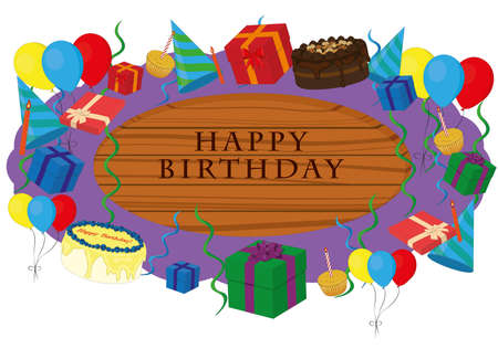 Happy birthday wooden signboard decorated with party items vector illustration
