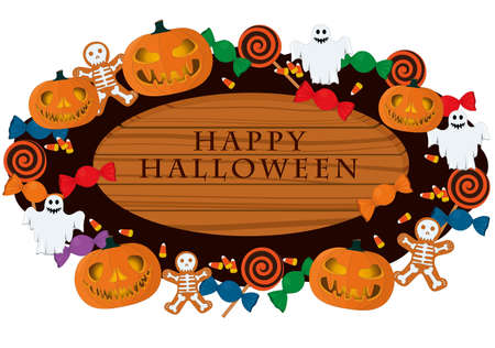 Happy halloween wooden signboard decorated with pumpkins and sweets vector illustration Vectores