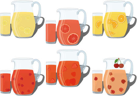 Refreshing cold summer drinks in jug and glass collection vector illustration