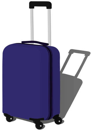 Blue suitcase luggage vector illustration