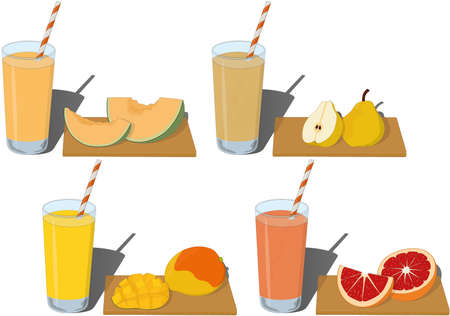 Glass of fresh fruit juice types with cut fruits on board vector illustration