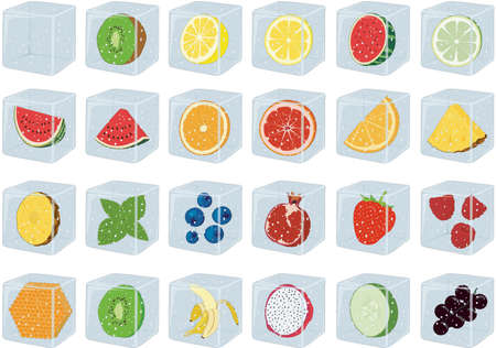 Ice cubes for drinks with fruits and berries inside vector illustration