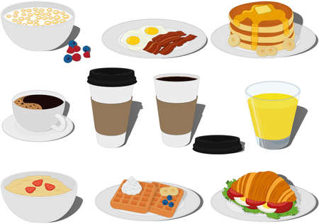 Breakfast food and drink types collection vector illustration Vectores