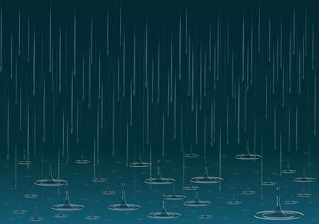Rain background with drops and splashes vector illustration