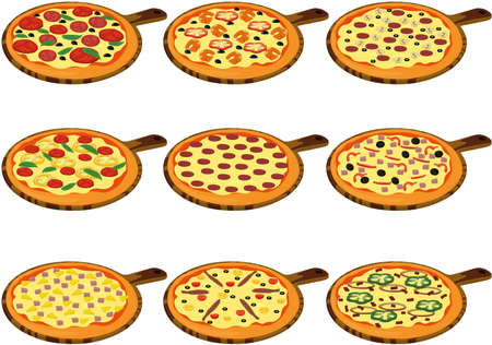 Whole pizza types with different toppings collection vector illustration