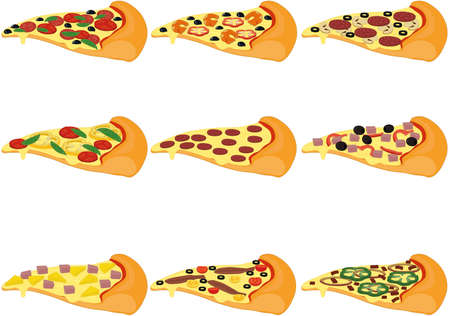 Pizza slices types with different toppings collection vector illustration