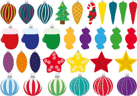 Christmas and new year fir tree decoration toys collection vector illustration