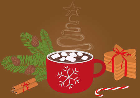 Christmas and new year hot drink with sweets vector illustration Vectores