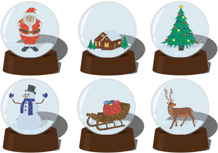 Christmas and new year snow globe collection vector illustration
