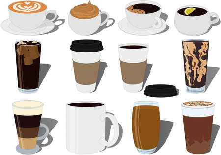 Coffee recipes collection vector illustration
