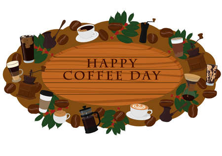 Happy coffee day wooden signboard decorated with coffee items vector illustration