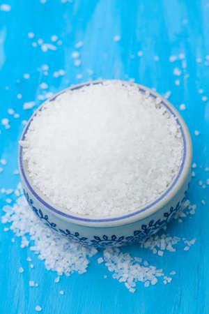sea salt on blue photo