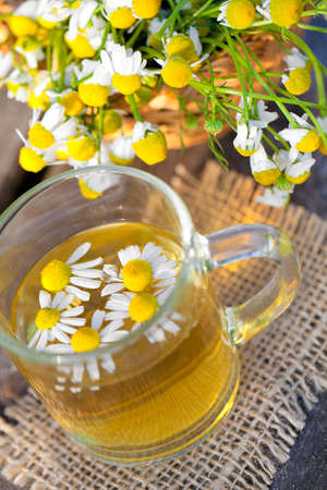 fresh chamomile tea on wooden table in the garden photo