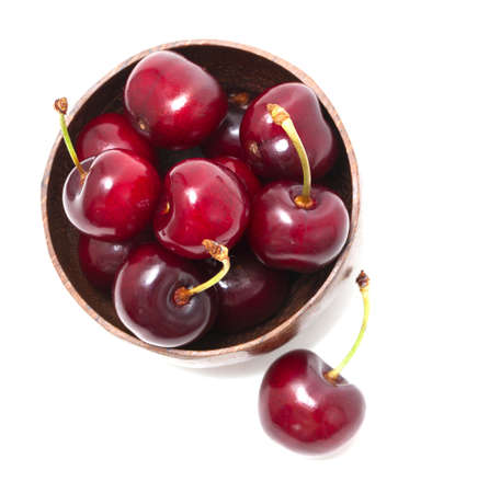 cherry in a bowl isolated on white, top view Stock Photo - 13868853