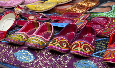 gcc: Rows of colorful shoes Stock Photo