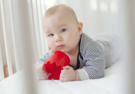 adorable 7 month old baby posing in white crib with a red toy photo