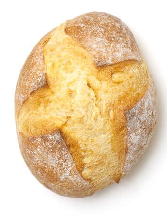 буханка: свежего хлеба на белом фоне, вид сверху