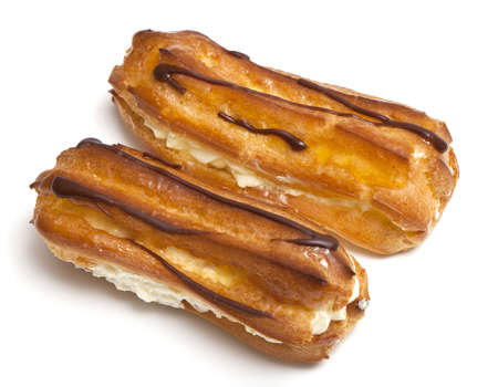 two eclairs on a white background photo
