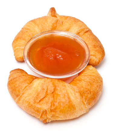 two croissants and jam photo
