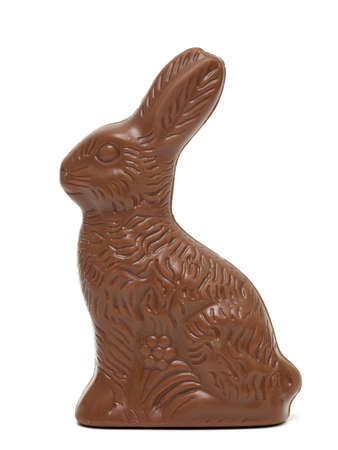 Easter chocolate bunny on white background