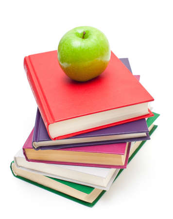 apple on stack of books isolated on white Stock Photo - 13936250