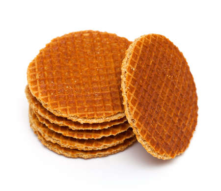 Dutch Waffles isolated on white background photo