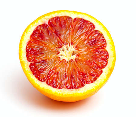 orange slices: red orange close up on white background