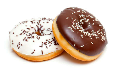 two doughnuts isolated on white Stock Photo - 13936629