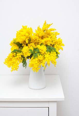mimosa in white vase on white table photo