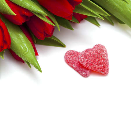 red tulips and two heart-shaped candies and copy space for your text  photo