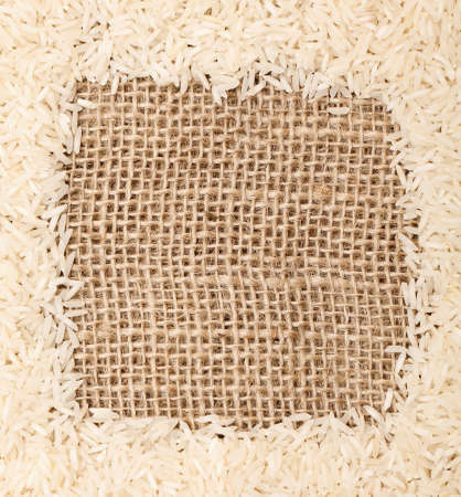 rice on sackcloth frame photo