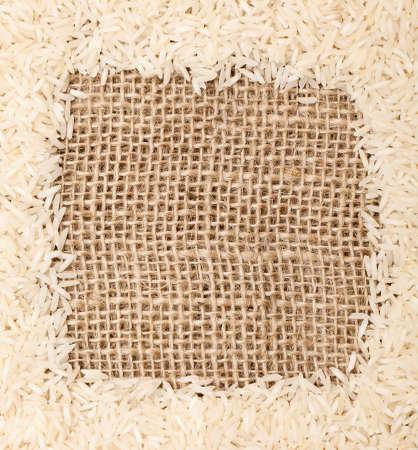 rice on sackcloth frame photo